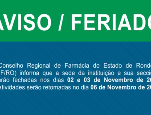 CRFRO sem expediente na sexta-feira (03), retomando o atendimento normal na segunda-feira (06/11/17)