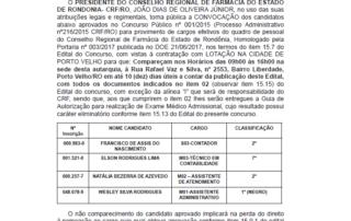 EDITAL DE CONVOCAÇÃO nº 0042017 CRFRO de 28 de Fevereiro de 2018, Porto VelhoRO