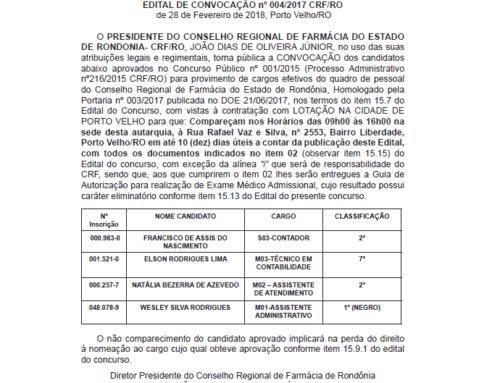 EDITAL DE CONVOCAÇÃO nº 004/2017 CRF/RO de 28 de Fevereiro de 2018, Porto Velho/RO