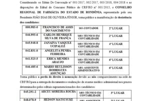 EDITAL N.° 008 2018 CRFRO  MANIFESTAÇÃO DESISTÊNCIA E NÃO COMPARECIMENTO