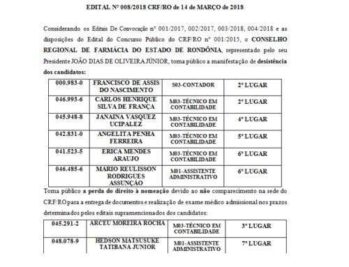 EDITAL N° 008/2018 CRF/RO de 14 de MARÇO de 2018