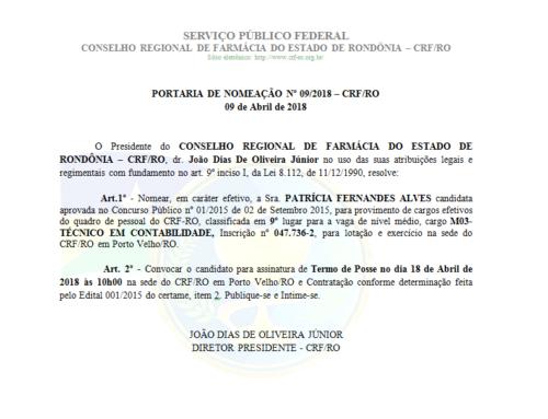 PORTARIA DE NOMEAÇÃO Nº 09/2018 – CRF/RO de 09 de Abril de 2018