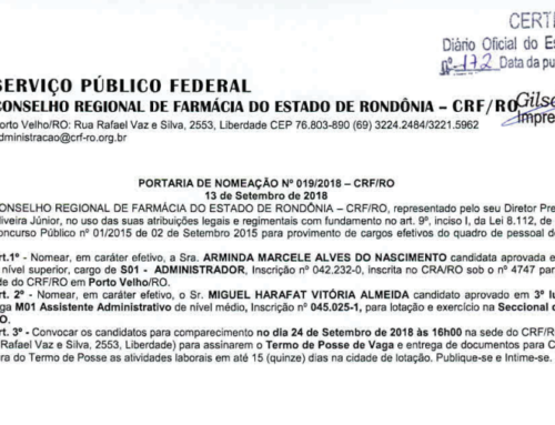 PORTARIA DE NOMEAÇÃO Nº 019/2018 – CRF/RO de 13 de Setembro de 2018