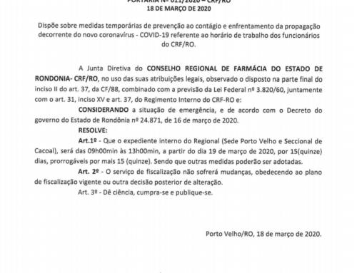 Portaria altera horário de funcionamento do CRF-RO com base em Decreto Estadual
