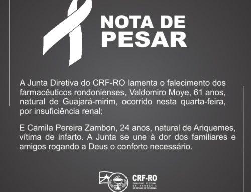 VALDOMIRO E CAMILA – CRF lamenta morte de farmacêuticos