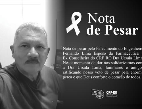 Nota de Pesar pelo Falecimento do Esposo da Ex Conselheira do CRF RO Dra Ursula Lima